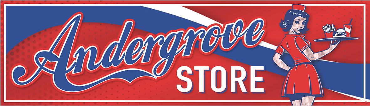ANDERGROVE STORE logo with lady CMYK